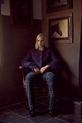 Blue and purple tweed jacket, jeans and patent calfskin boots, CHANEL