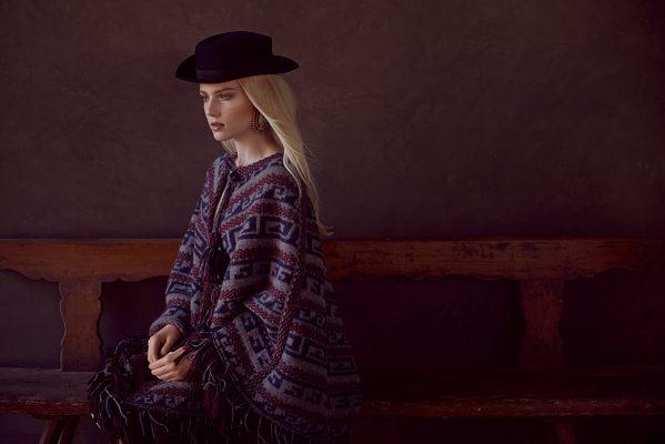 Multi-coloured wool pullover, navy blue velvet hat and multi-coloured earrings, CHANEL