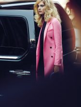 Pink double-breasted cashmere coat, black quilted silk dress and Diorissimo flap bag, DIOR