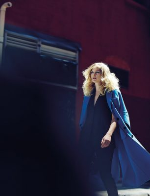 Bright blue wool coat, black three-piece flannel suit and Lady Dior bag in grey shiny crocodile, DIOR