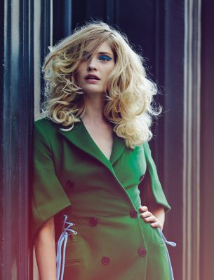Green double-breasted laced cashmere coat, DIOR