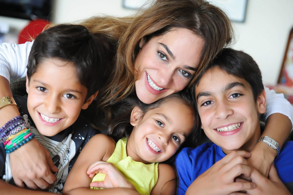 Sima with her three children