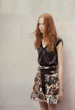 Knit top with leather detail, skirt and leather belt, LOUIS VUITTON