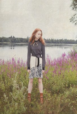 Knitwear top, leather skirt, leather belt, necklace and Eternal cognac boots, LOUIS VUITTON