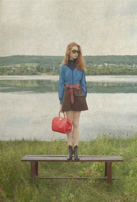 Dress, leather belt, red doctor bag, sunglasses and Revival ankle boots, LOUIS VUITTON