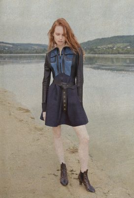 Suede and contrasted fabric dress, leather belt and monogram boots, LOUIS VUITTON