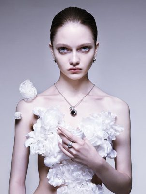 White gold, emerald, onyx and diamond necklace   White gold, emerald, black lacquer and diamond earrings   White gold, emerald, onyx and diamond ring, Panthère de Cartier collection, CARTIER