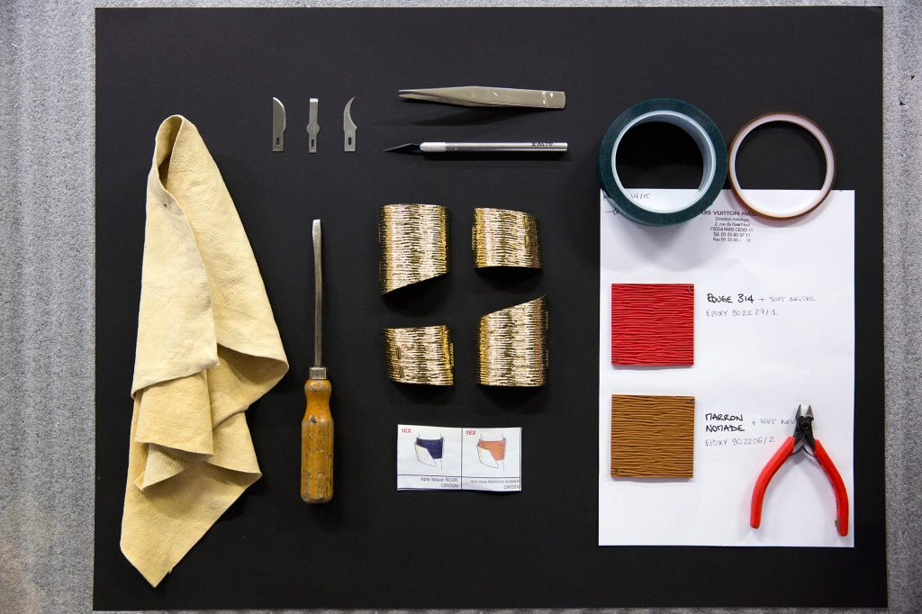 Epi leather found at the leather workshop and used on the Petite Malle bags