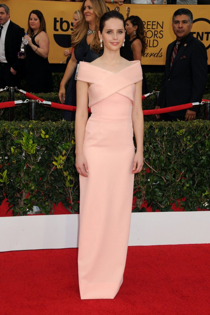 Felicity Jones at the 21st Annual Screen Actors Guild Awards 2015. Photography by Byron Purvis/AdMedia/Corbis