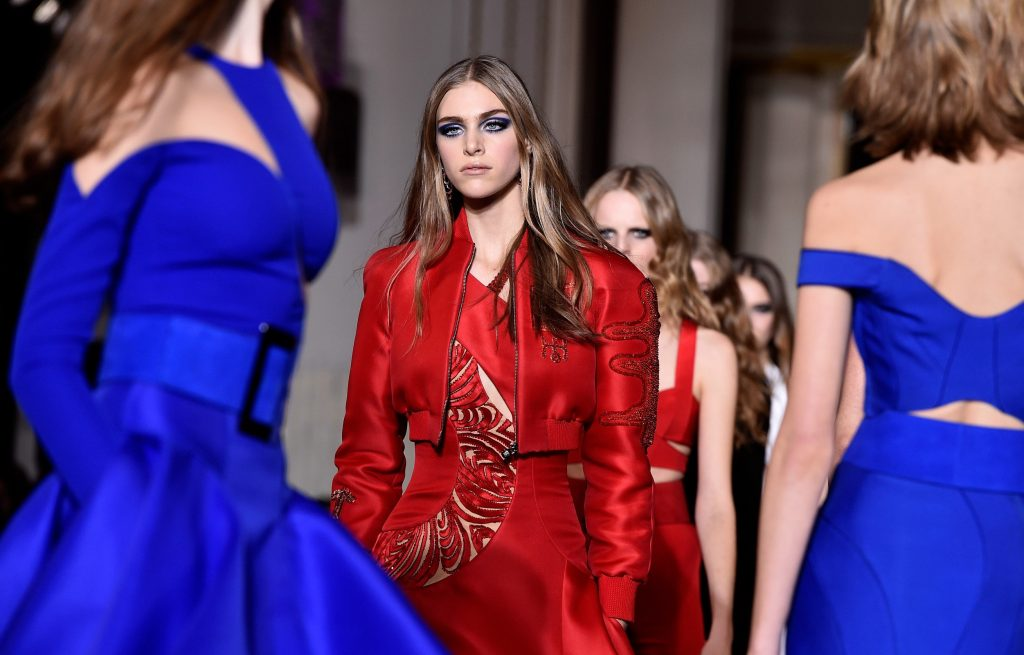 Models walk the runway during the Versace show as part of Paris Fashion Week Haute Couture Spring/Summer 2015 (Photo by Pascal Le Segretain/Getty Images)