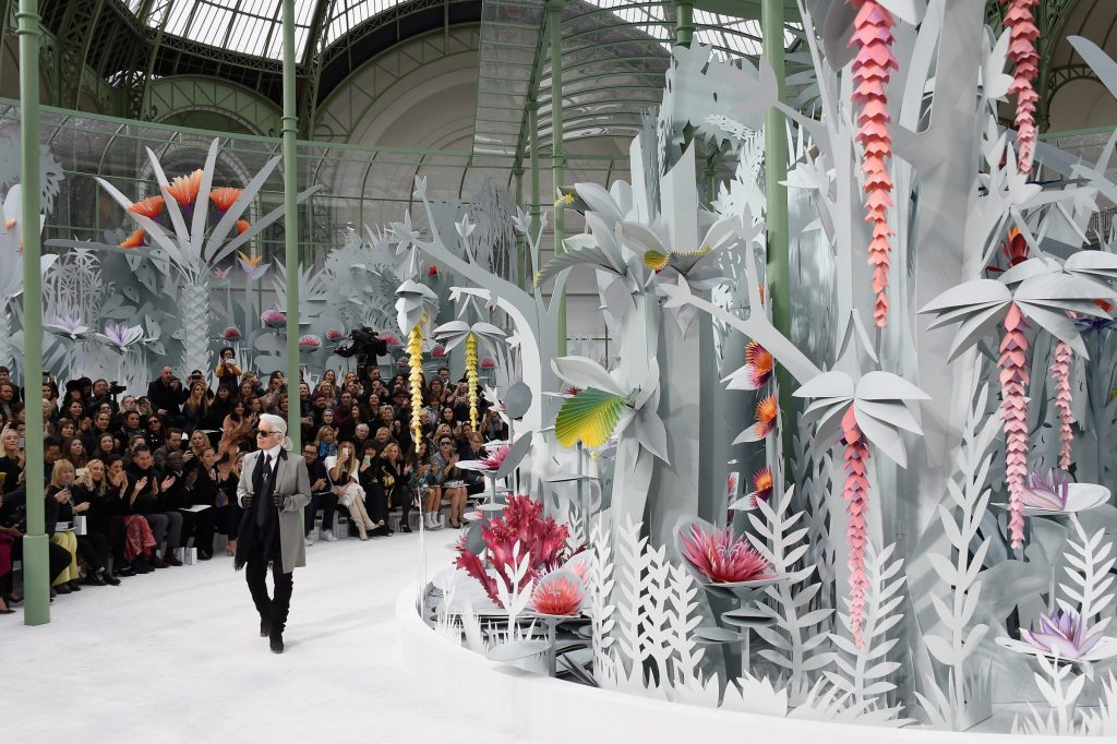 Karl Lagerfeld closes the show and his terrarium world (Photo by Pascal Le Segretain/Getty Images)