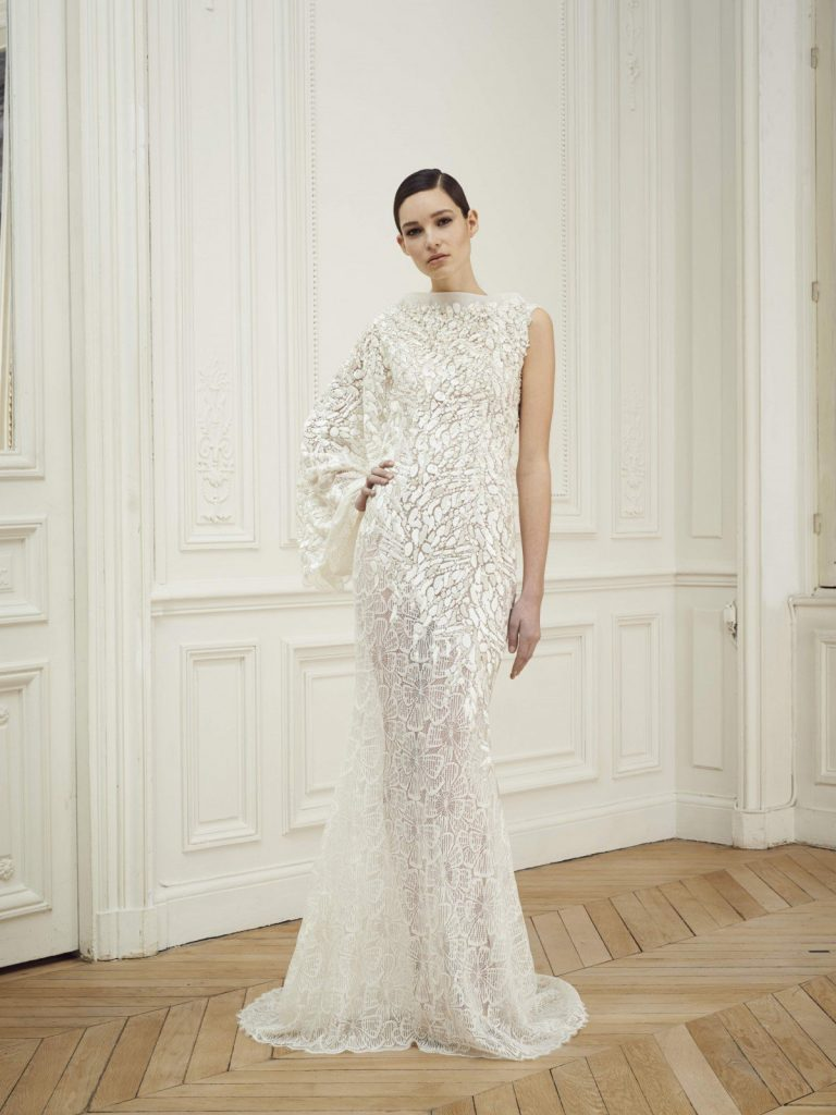 Beading, lace and a kimono-sleeve give a Japanese-inspired feel to this ethereal gown. Image courtesy of Rami Al Ali.