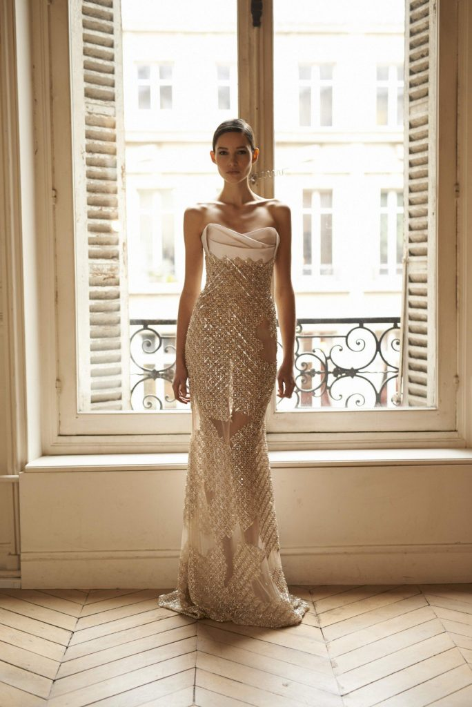 This champagne column gown is demure and revealing all at the same time. Image courtesy of Rami Al Ali.