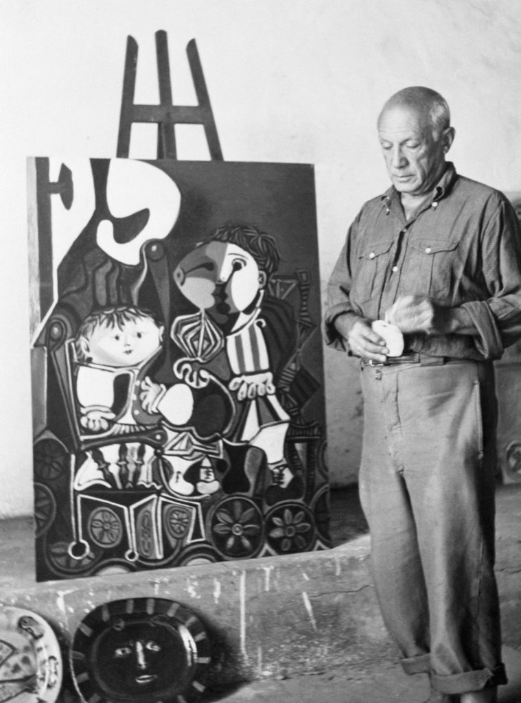 Pablo Picasso at his home in southern France. Photography by Bettmann/Corbis.