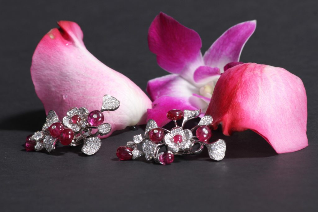 Wild Flower earrings with ruby and white micro diamonds, DAVID MORRIS