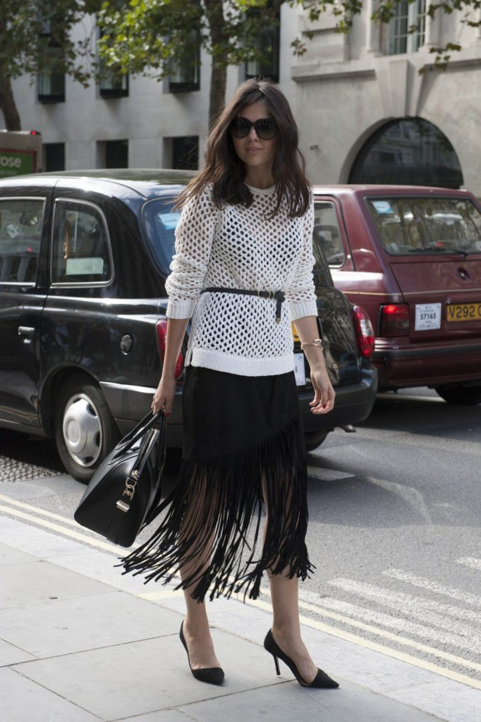 A fringed skirt with the right separates is just right for the office.