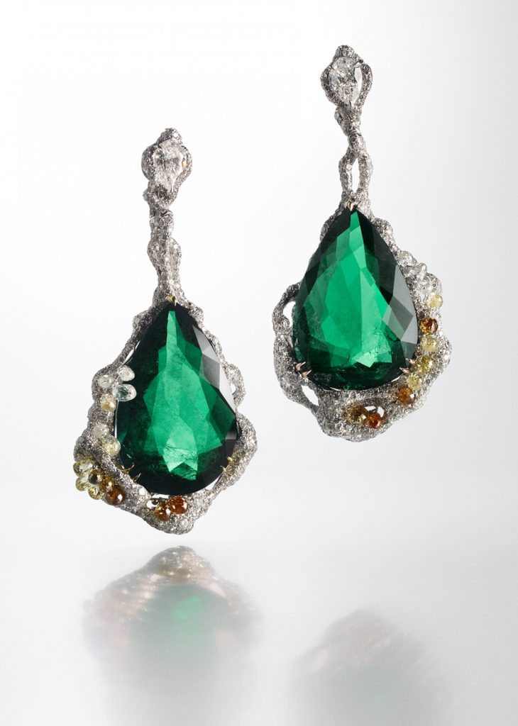 Emerald drop earrings, Architectural Collection.