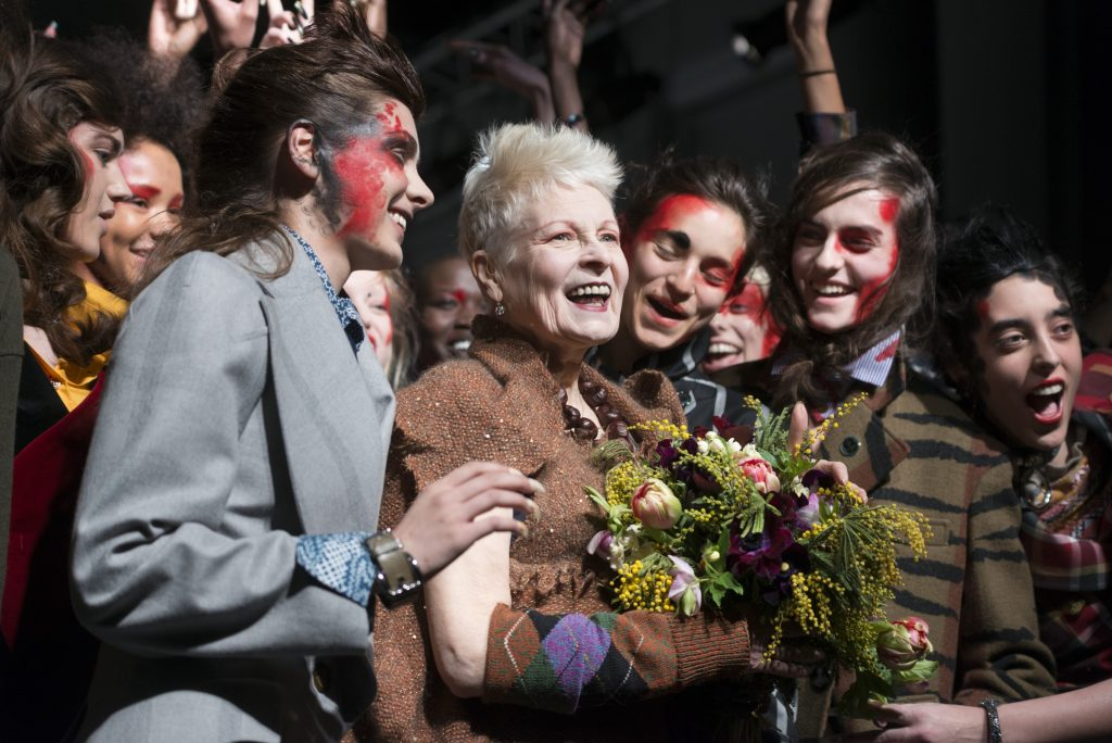Vivienne Westwood at her AW15 show at London Fashion Week. Photography by Ik Aldama/Demotix/Corbis.