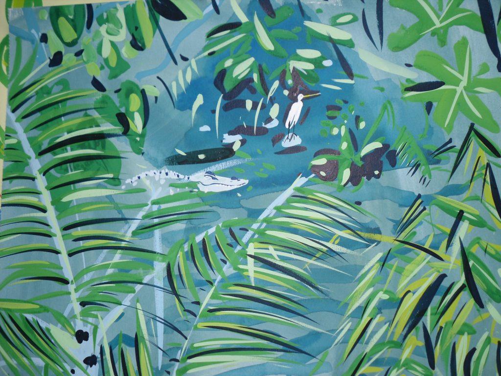 Crocodile and Bird; Miami Zoo by Pippa Cunningham