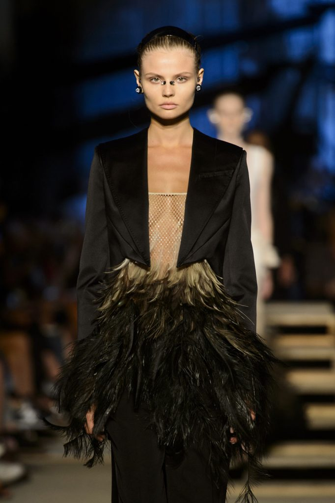 The Givenchy muse swathed in feathers