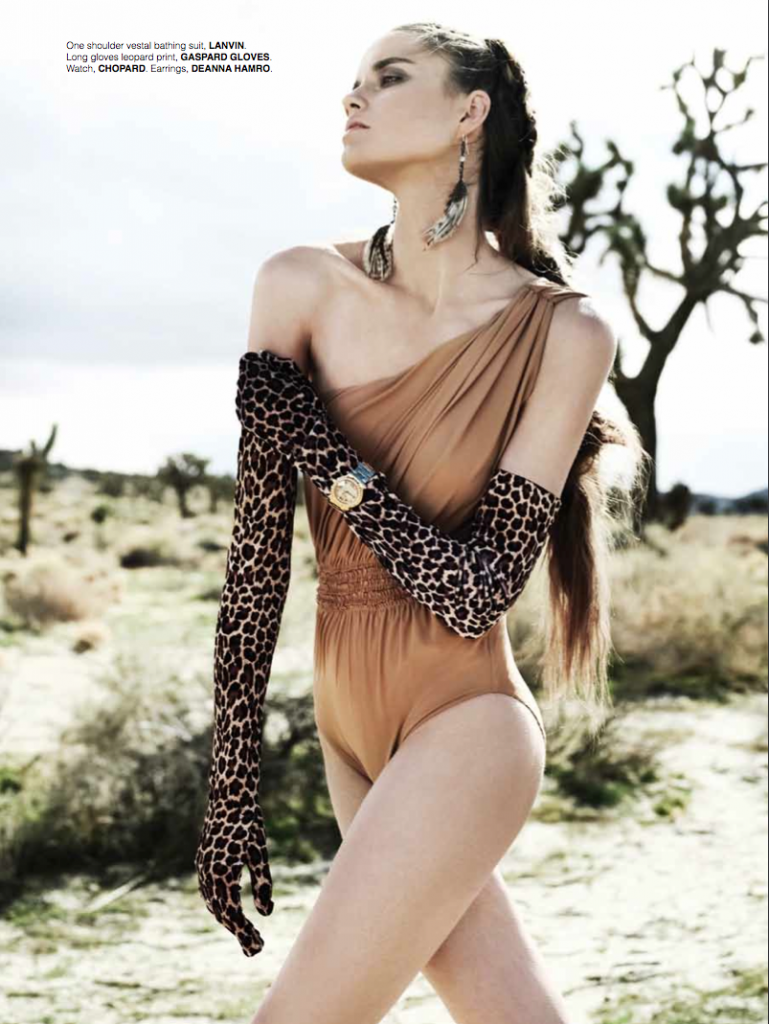 Lanvin one shoulder bathing suit | Issue No. 1 | Jewel of the Desert, Photographed by Simon Upton