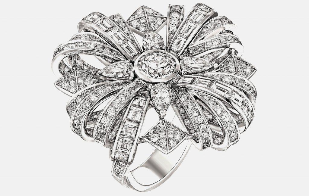 """Secrète"" ring in 18K white gold set with 127 brilliant-cut diamonds"
