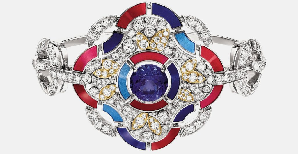 """""""Hypnotique"""" bracelet in 18K white and yellow gold set with a 4.6-carat brilliant-cut blue violet tanzanite with 231 brilliant-cut diamonds"""