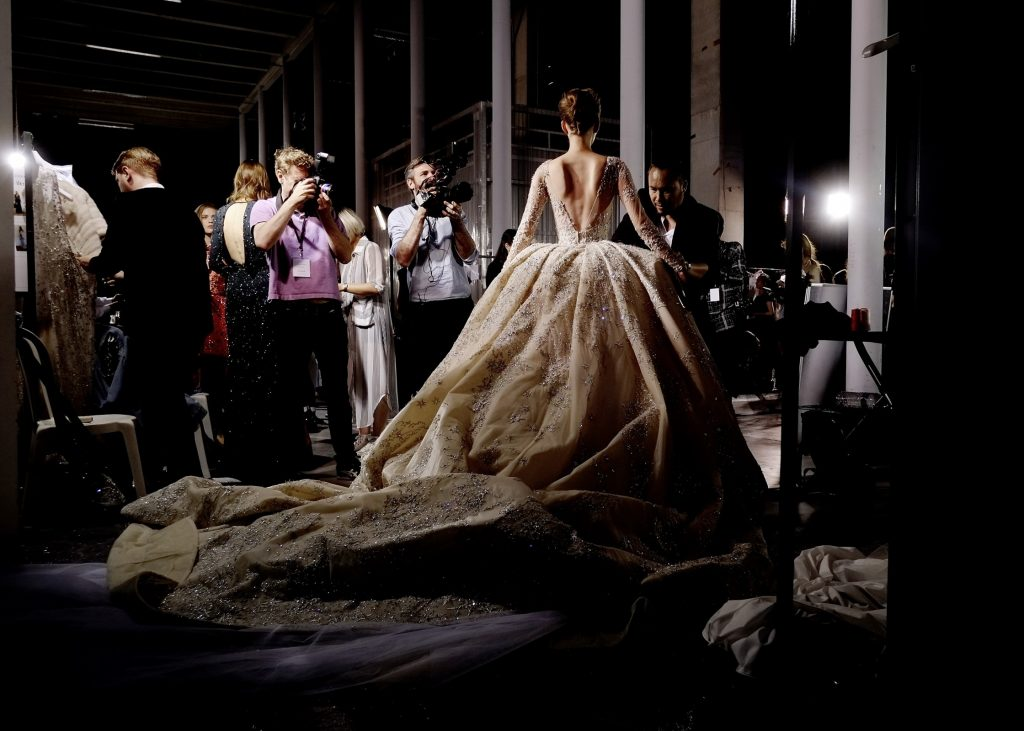 Backstage at the Zuhair Murad Haute Couture A/W15 show at the Palais de Tokyo