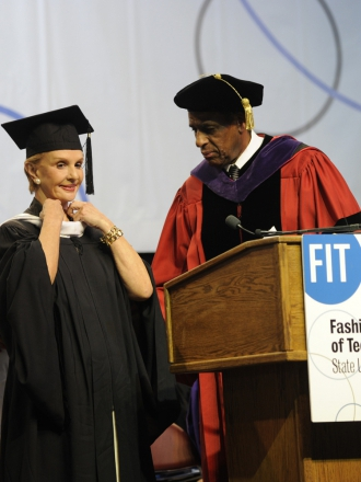 Carolina Herrera receiving an honorary Doctorate of Fine Arts from the Fashion Institute of Technology in New York