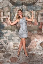 At Chanel N.5 The Film launch with Baz Luhrmann, Gisele wears Chanel's Fall 2014 Couture dress in sparkling silver
