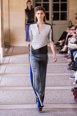 4. Contrast with a Sharp Shirt.  Bring your look back to the boardroom and sharpen it with the addition of a structured or detailed shirt, tucked in at the waist to draw attention to those drawstrings.