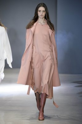 This season, Tibi is all about the pale, warm pinks, which are deep and rich in colour. At New York Fashion Week, this loose fitting midi skirt was paired with a sturdy riding boot and attention-grabbing coat