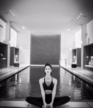 Lily Aldridge takes a moment of zen