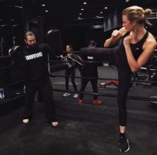 Karlie Kloss during a kickboxing workout.