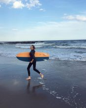Lily Donaldson goes surfing in New York.