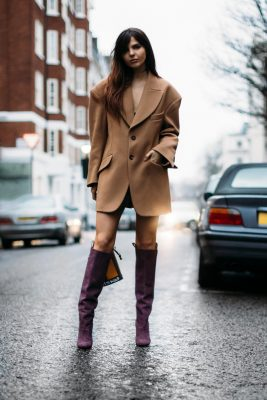 This look demonstrates that an oversized, masculine blazer can double as a dress. Pair with high boots to keep exposed skin minimal.