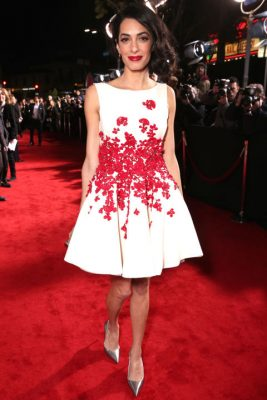 When: February 1, 2016 | This Giambattista Valli Haute Couture ivory frock is beautifully embellished with ruby-red floral embroidery, and worn to the premiere of 'Hail, Caesar!'