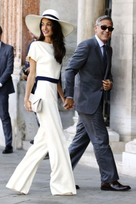 When: September 29, 2014 | The lawyer arrives at the palazzo Ca' Farsetti in Venice in a Stella McCartney jumpsuit for a civil ceremony to officialise her wedding to George Clooney