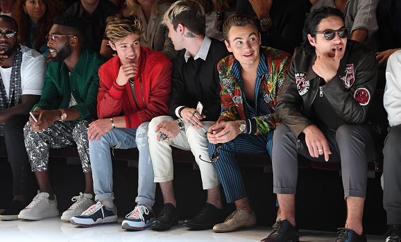 Tinie Tempah, Cameron Dallas, Gabriel Kane Day-Lewis and Brandon Thomas Lee sit front row at Dolce&Gabbana's spring17 show.