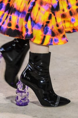 Ellery: Purple played a key role in footwear from perspex block heels to pointed patent offerings and ribbed velvet, thigh highs that zipped up at the front