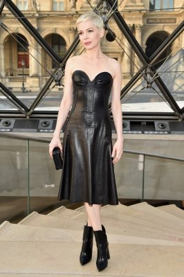 Louis Vuitton: Brand ambassador Michelle Williams made her entrance to the show in a sleek, all-leather ensemble that was kept modern with minimal makeup.