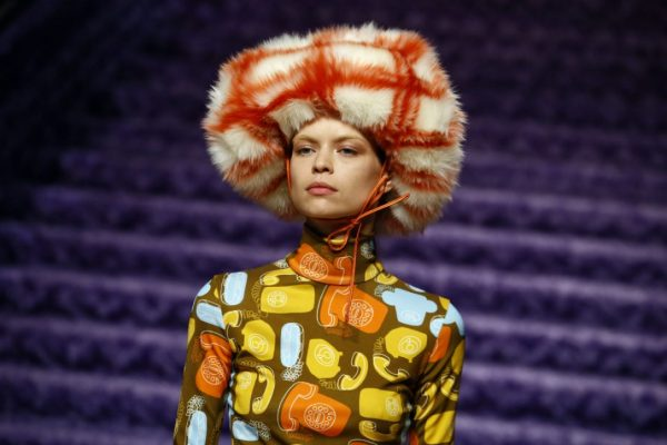 Miu Miu: The wild and wonderful collection had a focus on feel-good hues and larger-than-life furs which were made even more attention-grabbing with clashing checks and stripes.