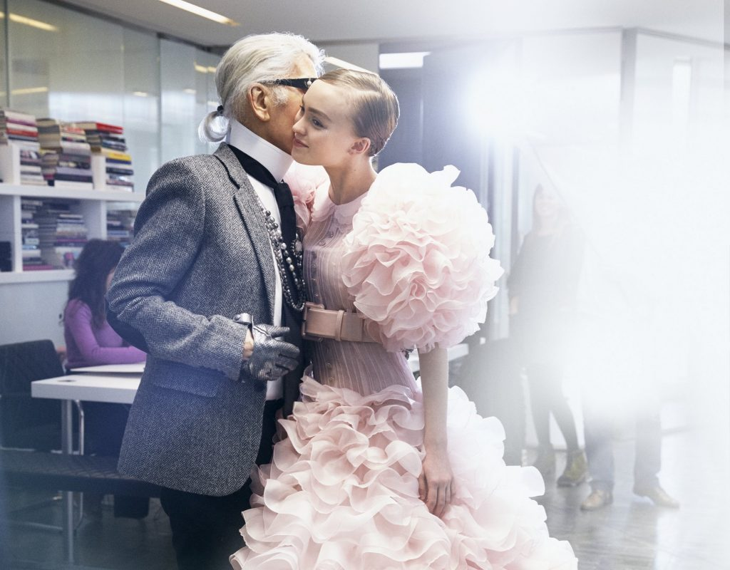 Karl Lagerfeld pictured backstage with Chanel bride Lily-Rose Depp at the Maison's spring 2017 Haute Couture show.