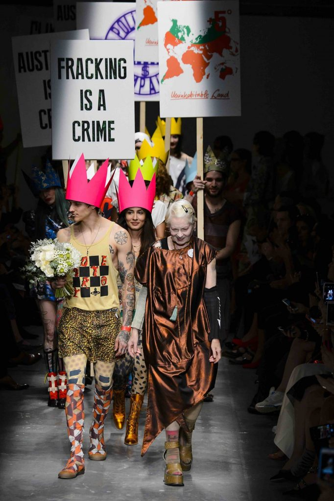 Spring/summer16: Vivienne Westwood is famous for campaigns that promote environmental protection.