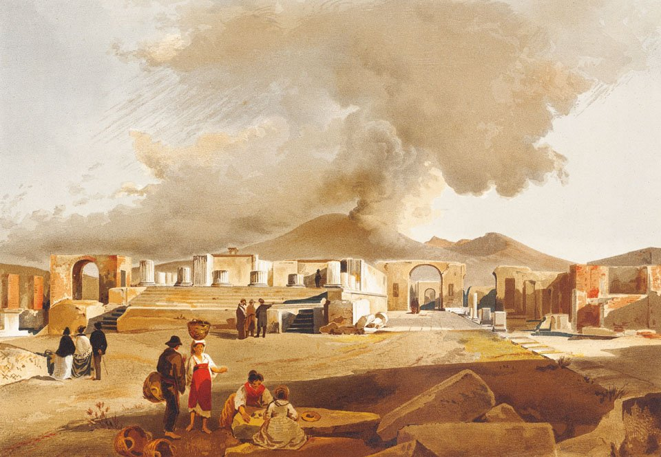 Forum – View from the south with a smoking Vesuvius in the background. © TASCHEN