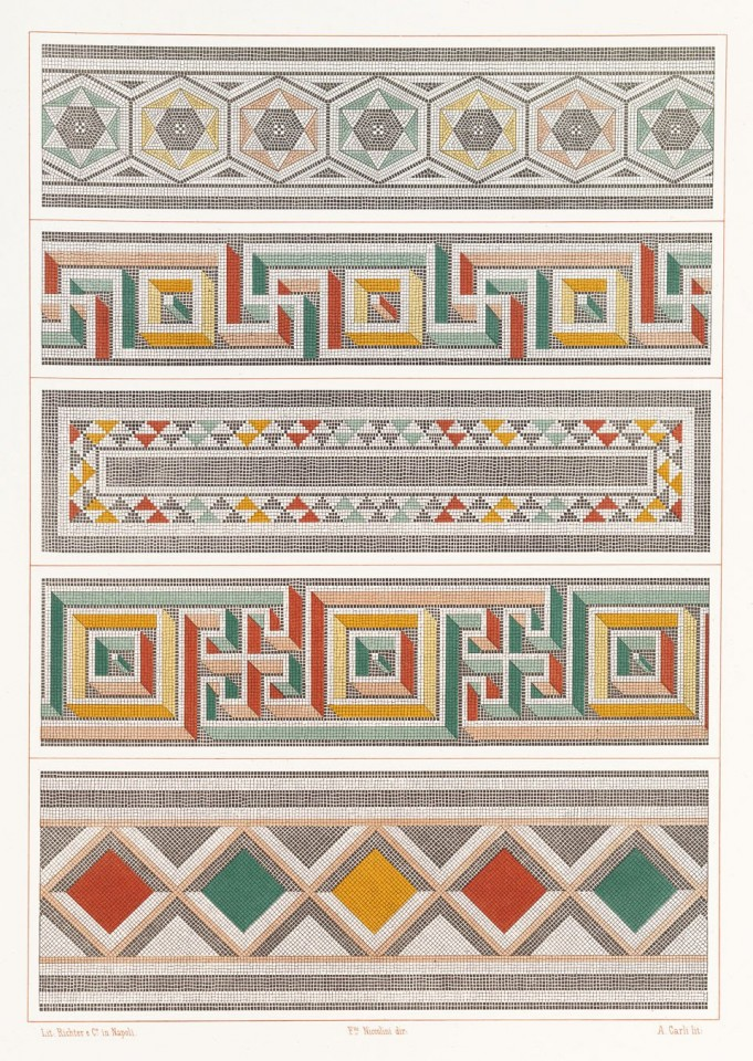 Compilation of colourful mosaic borders from various locations, in the form of a pattern book. © TASCHEN