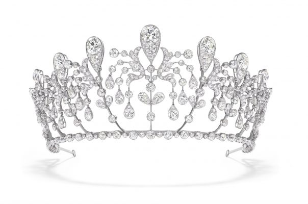 Diadem with fuchsia motifs, known as Bourbon-Parme, 1919 | Sparkling platinum is set with regal diamonds, a fine example of the illustrious Maison's trompe-l'oeil (optical illusion) effect. Chaumet painstakingly created this surprisingly contemporary crown to mark the wedding of Hedwige de La Rochefoucauld to Prince Sixte de Bourbon-Parme, brother of the Empress Zita of Austria. Mottled with fuchsia flower motifs, it's a fabulous example of the brand's skill and ability.