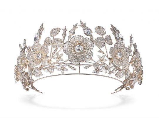Diadem with briar roses and jasmine flowers, 1830 | This extremely traditional tiara was acquired by Francis Russell, 7th Duke of Bedford, for his wife Anna-Maria. Flowers, fruits, briar roses and jasmine leaves all feature and appear in multiple pieces crafted by its creator, Jean-Baptiste Fossin. A timelessly elegant masterpiece, each bold flower is completed with a jaw-dropping showcase diamond.