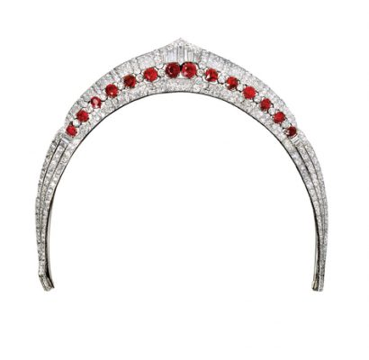Diadem from the Bourbon-Parme parure, 1936 | Supremely feminine, blood-red rubies decorate this collerette-styled diadem. Each stone was taken from the inheritance of the then Emperor of Austria, Franz-Josef. The Maison designed the tiara in celebration of the wedding between Alice de Bourbon-Parme and the Infant of Spain, Prince Alphonse de Bourbon-Sicile. Extremely versatile, this piece can be easily transformed and worn as a statement necklace.