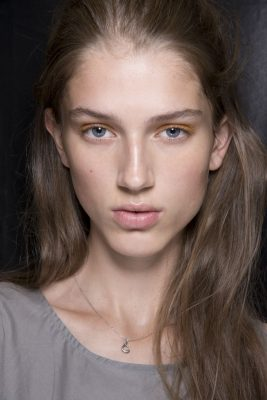 Models at Dion Lee were seen with a light dusting of pigment to the lids for a more subdued aesthetic.